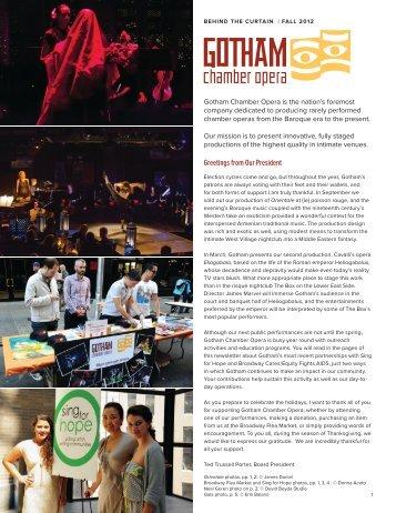 Behind the Curtain Fall 2012 - Gotham Chamber Opera