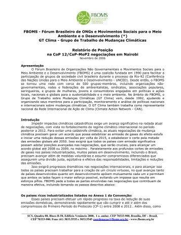 FBOMS - Fórum Brasileiro de ONGs e Movimentos Sociais para o ...
