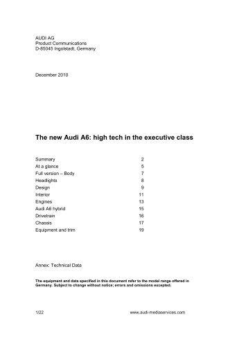 2011 audi a6 brochure pdf australian specifications