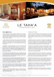 IsLAnd REsoRT & spA - South Pacific Management - Hotel ...