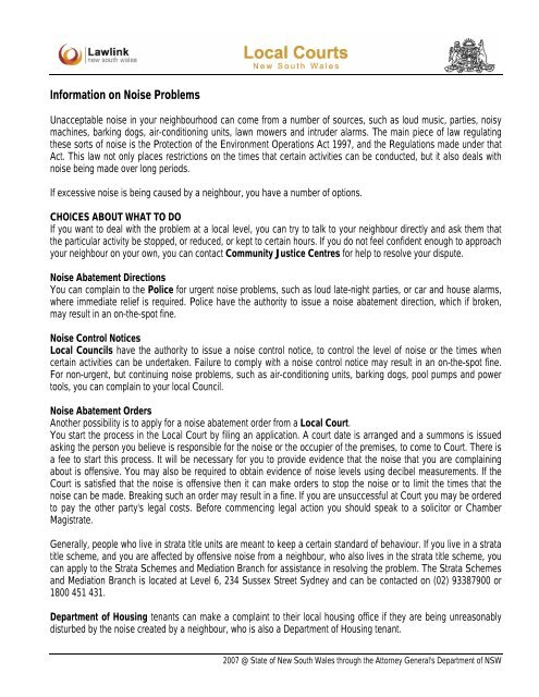 Information on noise problems pdf - Guide to Rural