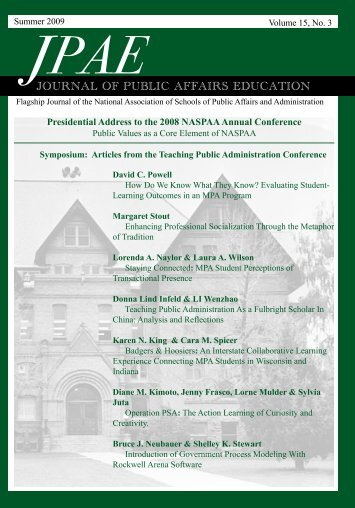 journal of public affairs education - NASPAA *The Global Standard ...