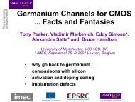 Germanium Channels for CMOS ... Facts and Fantasies (pdf) - IM2NP