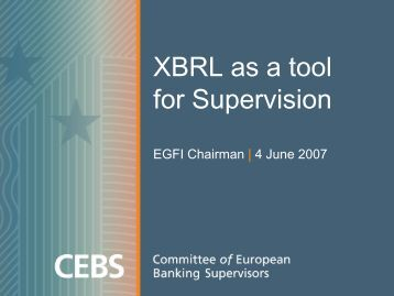 XBRL as a tool for supervision - Eurofiling