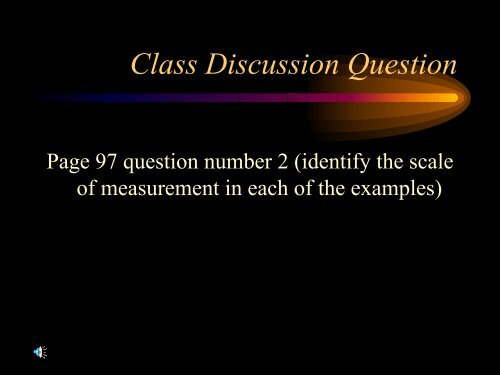 Class Discussion Question