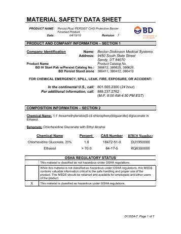 product and company information – section 1 - BD Product Catalog