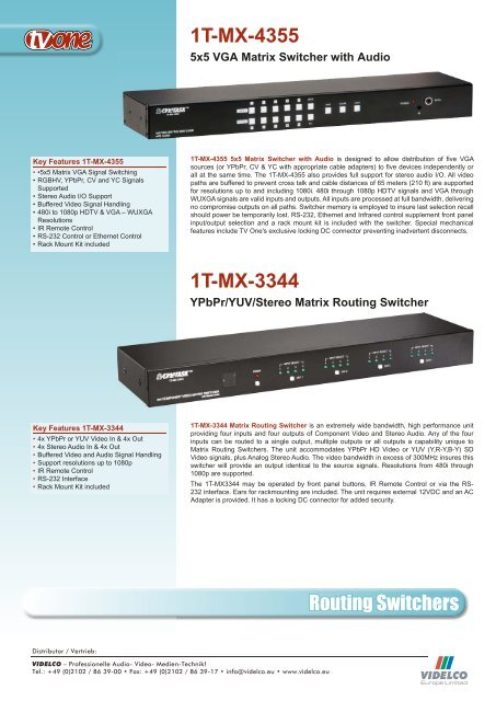 Routing Switchers 1T-MX-3344 1T-MX-4355  - VIDELCO