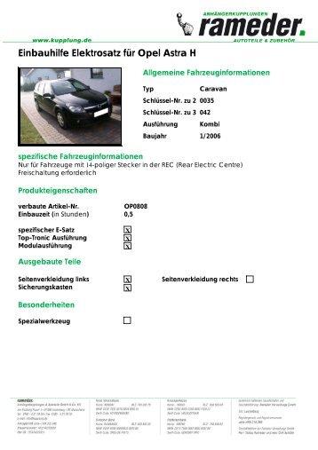 Einbauhilfe Elektrosatz für Opel Astra H