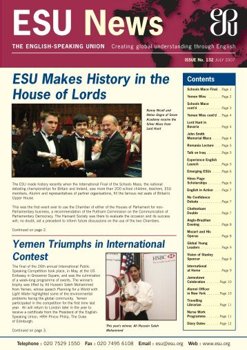 Newsletter July 2007 - The English-Speaking Union