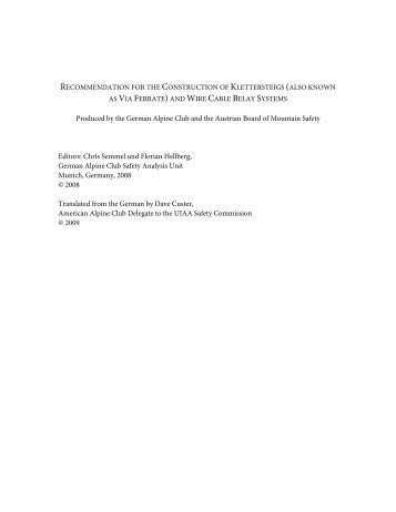 Recommendations for via ferrata construction - UIAA