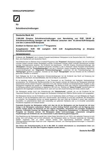 VERKAUFSPROSPEKT für Schuldverschreibungen ... - Börse Stuttgart