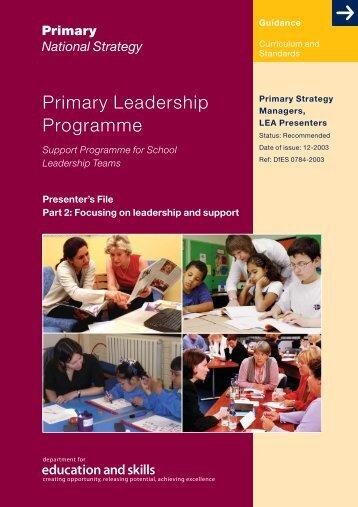 Leadership programme: Part 2 - PGCE