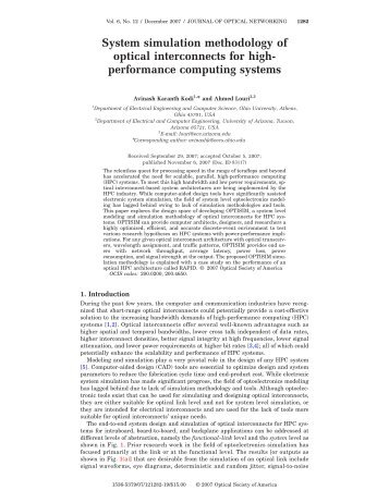 System simulation methodology of optical interconnects for high ...