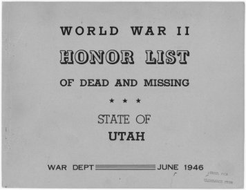 world war ii of dead and missing - Utah State Archives