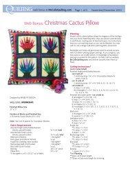 Web Bonus: Christmas Cactus Pillow - McCalls Quilting