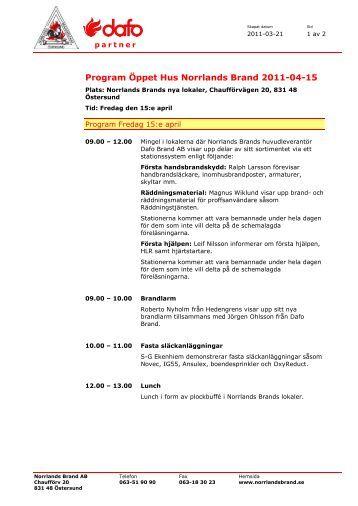 Program Öppet Hus Norrlands Brand 2011-04-15