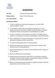 JOB DESCRIPTION Job Title: Training and Development Officer ...