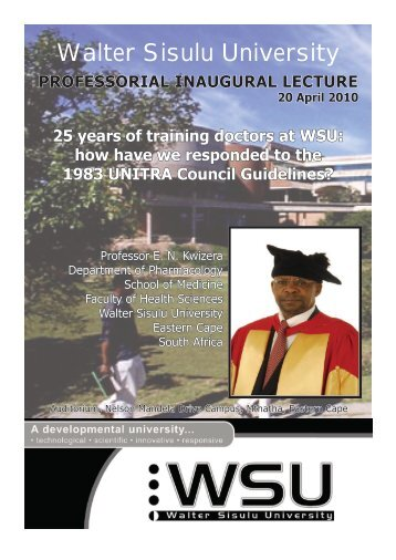25 years of training doctors at WSU: how - Walter Sisulu University