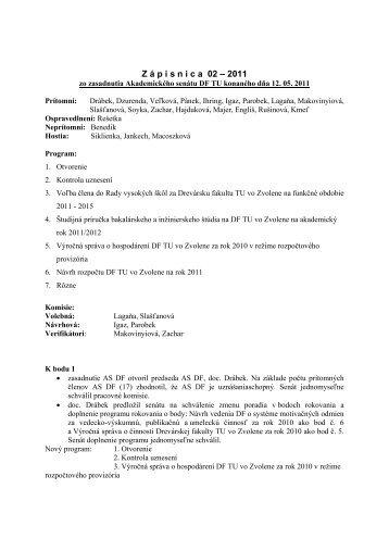 Zápisnica číslo 02 - 2011 z rokovania AS DF 12. 05. 2011