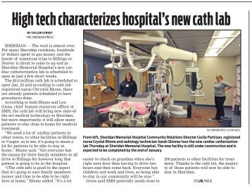 High tech characterizes hospital's new cath lab - Sheridan Memorial ...