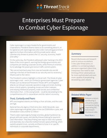 Enterprises Must Prepare to Combat Cyber Espionage - Workcast