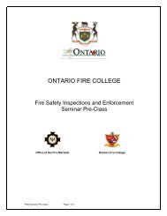 Fire Safety Inspection and Enforcement Seminar Pre Class 2012