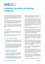Allgemeine Grundsätze der Auftragsausführung - DKB