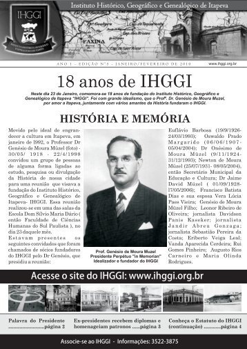 Informativo IHGGI - Edição Nº 5 - IHGGI - Instituto Histórico ...
