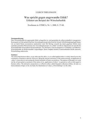 Angewandte Ethik im Gesundheits- und Sozialwesen