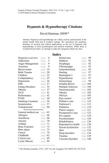 Hypnosis & Hypnotherapy Citations Index - The Wellness Institute