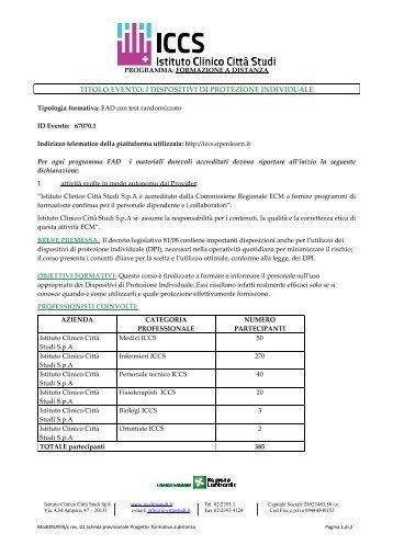 scarica brochure - Istituto Clinico Città Studi SPA | MILANO