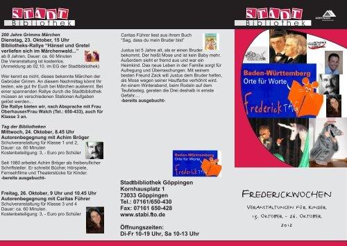 Fredericktage 2012 Programmflyer - Stadtbibliothek Göppingen