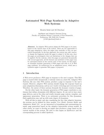 Automated Web Page Synthesis in Adaptive Web Systems - CiteSeerX