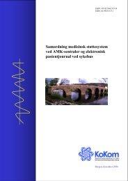 Samordning medisinsk støttesystem ved AMK-sentraler og ... - KoKom