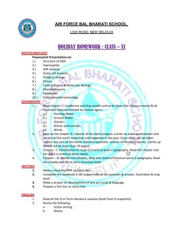 HOLIDAY HOMEWORK : CLASS – XI - Air Force Bal Bharati School