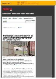 Rhomberg Bahntechnik startet als Eisenbahnverkehrsunternehmen ...