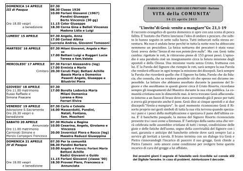 Avvisi della 16^ settimana dal 14 al 21 apr. 2013 - Parrocchiabariano.it