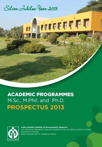 IGIDR Prospectus 2013 - Indira Gandhi Institute of Development ...