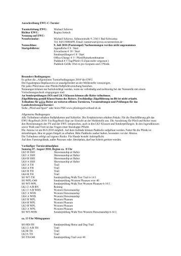 Ausschreibung EWU-C-Turnier Turnierleitung EWU: Michael ...