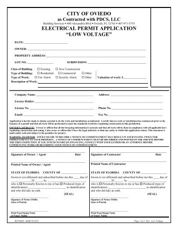 Electrical Permit Application – Low Voltage - City of Oviedo