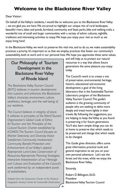 The Green Visitor Guide - Blackstone Valley Tourism Council