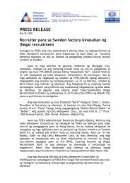 press release - Philippine Overseas Employment Administration