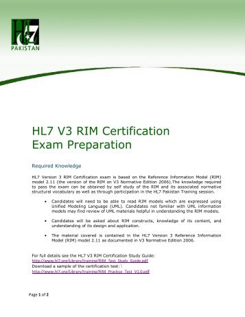 HL7 V3 RIM Certification Exam Preparation