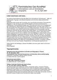 Nr. 33, April 2007 - AK Geographie und Geschlecht