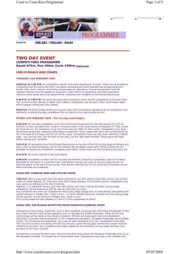 Race Programme - Canoe & Kayak