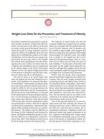 Weight-Loss Diets for the Prevention and Treatment of Obesity
