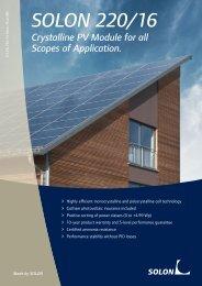 Datasheet SOLON 220/16 Solar panels - SunFields Photovoltaic ...