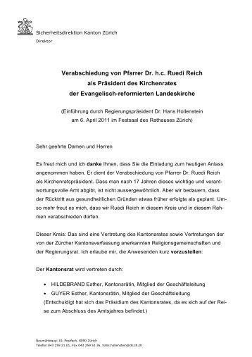 Verabschiedung von Pfarrer Ruedi Reich als Kirchenratspräsident