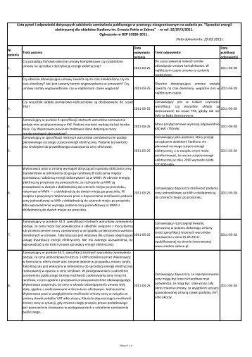 Lista pytao i odpowiedzi dotyczących udzielenia ... - Stadion w Zabrzu
