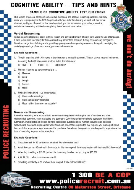 cognitive ability - Queensland Police Recruiting